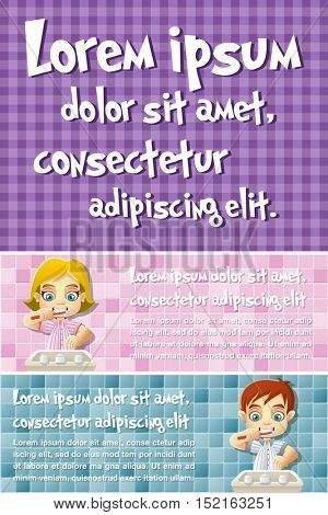 Vector brochure backgrounds with cartoon children in pajamas brushing teeth. Infographic template design.