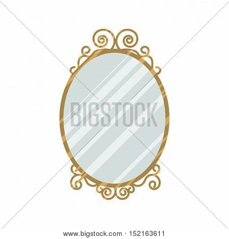 Vintage style feminine design mirror vector illustration. Home interior oval mirror with curl frame gold details.