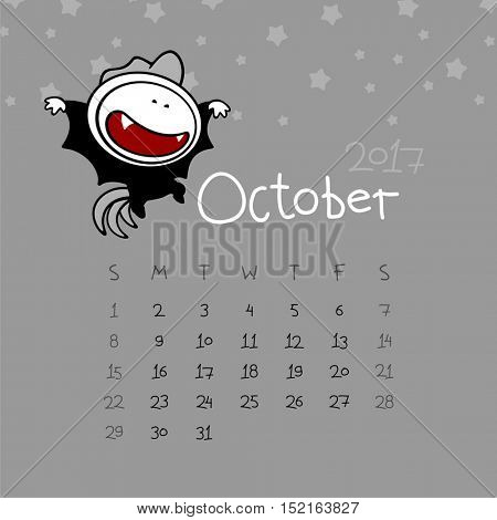Calendar for the year 2017 - October