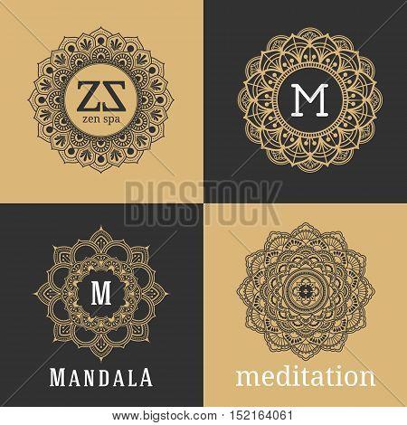 Vintage luxury floral sign and frame for tattoo monogram logo and decorative design element. Vector illustration