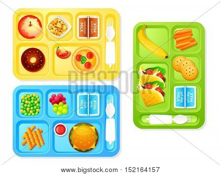 Healthy and tasty school lunch trays