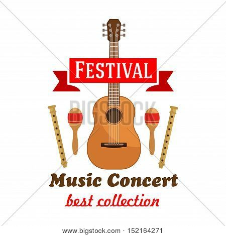 Music concert or festival badge with acoustic guitar, flanked by maracas and wooden flutes with red ribbon banner on the top. Cartoon style