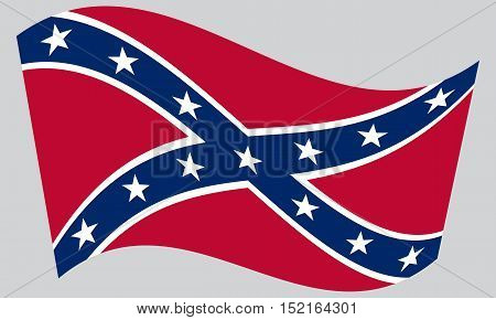 National flag of the Confederate States of America. Known as Confederate Battle Rebel Southern Cross Dixie flag. Patriotic symbol banner. Historical flag of the CSA waving gray background vector