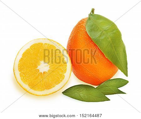 Fresh ripe orange fruits with cut and green leaves isolated on white background.