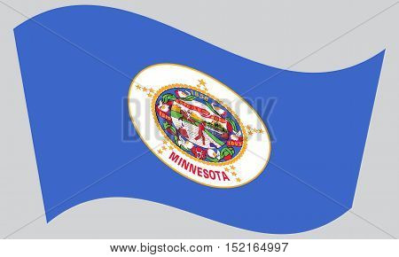 Minnesotan official flag symbol. American patriotic element. USA banner. United States of America background. Flag of the US state of Minnesota waving on gray background vector