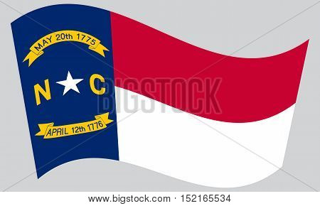 North Carolinian official flag symbol. American patriotic element. USA banner. United States of America background. Flag of the US state of North Carolina waving on gray background vector