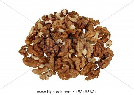 Pile of peeled walnuts isolated on white background with clipping path