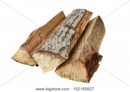 Chopped firewood isolated on white background with clipping path