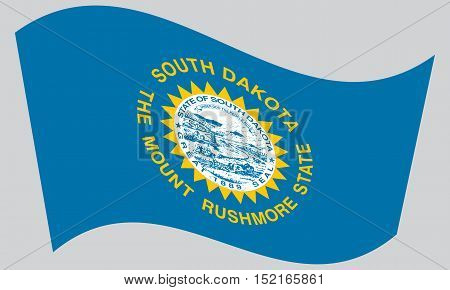 South Dakotan official flag symbol. American patriotic element. USA banner. United States of America background. Flag of the US state of South Dakota waving on gray background vector