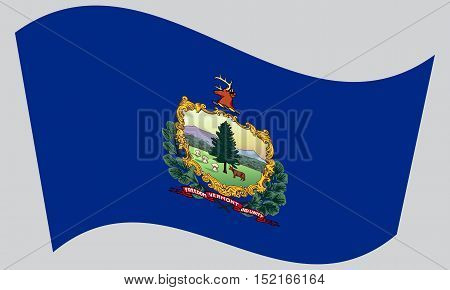 Vermonter official flag symbol. American patriotic element. USA banner. United States of America background. Flag of the US state of Vermont waving on gray background vector