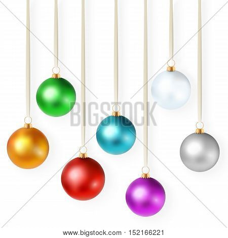 realistic vector illustration with set of isolated bright colorful christmas ornaments.