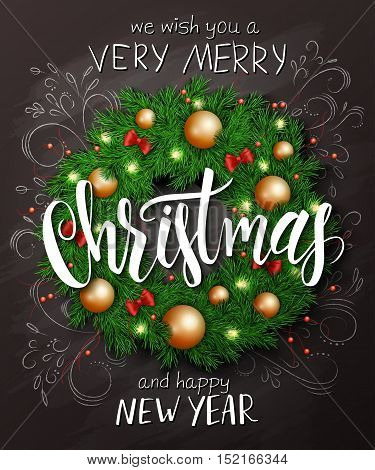 Vector christmas poster with christmas decoration spruce wreath with christmas ornaments, bows, and lettering greetings text.