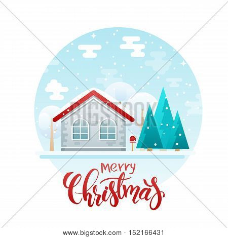 vector flat style country house with spruces and trees with lettering quote - merry christmas. It is snowing now.
