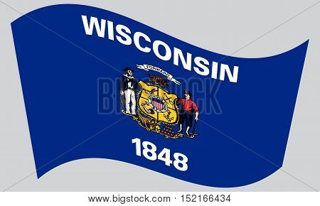 Wisconsinite official flag symbol. American patriotic element. USA banner. United States of America background. Flag of the US state of Wisconsin waving on gray background vector