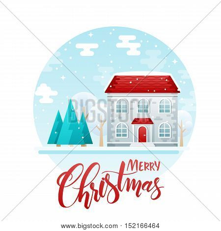 vector flat style two floor house with spruces and trees with lettering quote - merry christmas. It is snowing now.