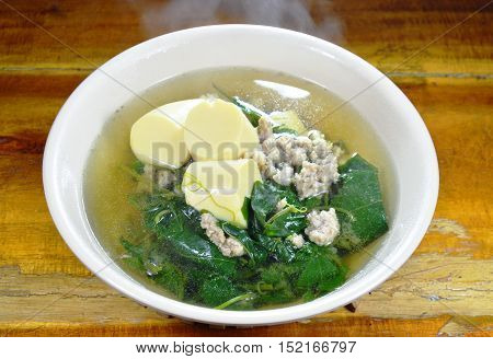 vegetable gourd with minced pork and egg tofu hot soup