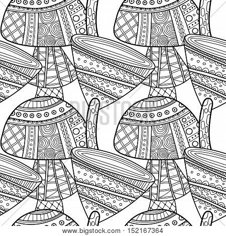 Black and white seamless pattern with decorative mushrooms for coloring book
