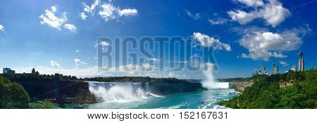 Niagara Falls with blue sky in panorama, Canada