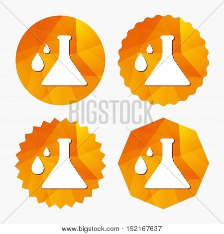 Chemistry sign icon. Bulb symbol with drops. Lab icon. Triangular low poly buttons with flat icon. Vector