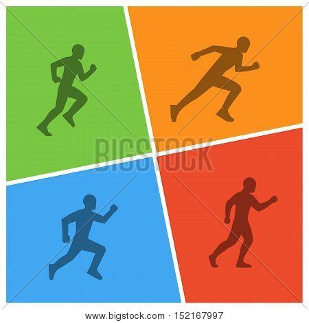 Vector run and marathon logo. Line silhouettes of marathoners.