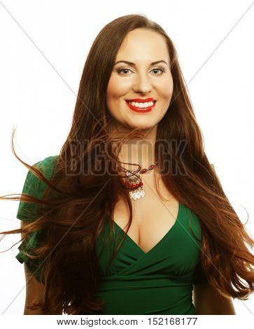 Young beautiful woman wearing green dress. Glamour fashion portrait.