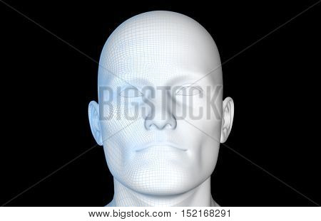 Facial Recognition Technology and Mapping of Face 3d Illustration Render