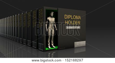 Diploma Holder Endless Supply of Labor in Job Market Concept 3d Illustration Render