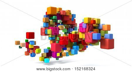 Colorful Cubes Background as a Geometric Abstract 3d Illustration Render