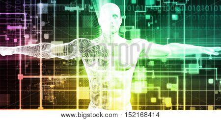 Man Machine Integration Design and Analytics System 3d Illustration Render