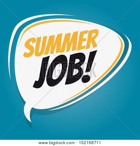 summer job retro speech balloon
