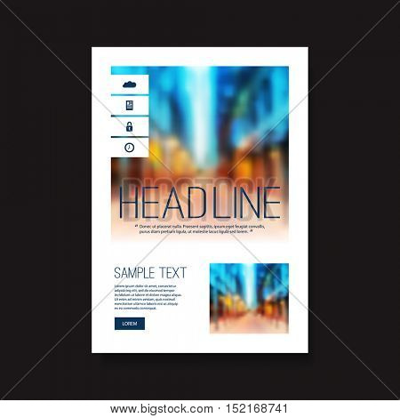 Business Flyer or Cover Design with Blurred Skyscrapers - Corporate Identity Design Template