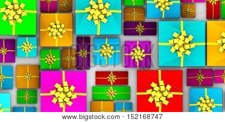 Wrapped Gifts Laid Out from a Top View 3d Illustration Render