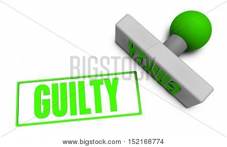 Guilty Stamp or Chop on Paper Concept in 3d Illustration Render