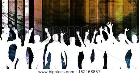 Party People in a Club Having Fun 3d Illustration Render