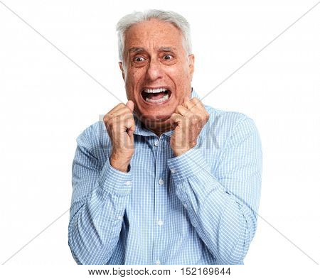 Scared senior man.