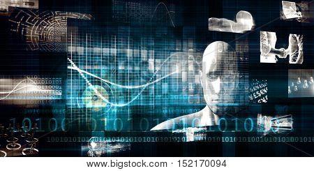 Technology Services on World Map Digital Art 3d Illustration Render
