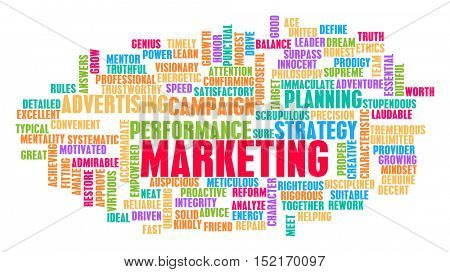 Marketing Word Cloud Concept on White