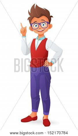 Cute smart little boy with glasses and finger point up having an idea. Cartoon vector illustration isolated on white background.