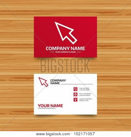 Business card template. Mouse cursor sign icon. Pointer symbol. Phone, globe and pointer icons. Visiting card design. Vector