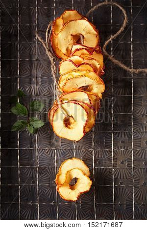 Dried apple slices hanging on string with dark metal backdrop