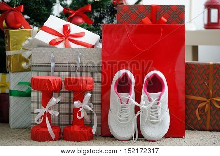 Christmas Present. Athletic Shoes For Running, Dumbbells Fitness.