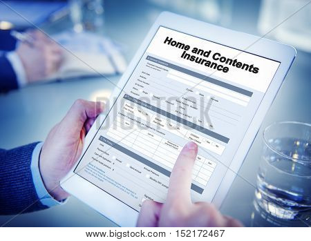 Home and Contents Insurance Form Document Concept