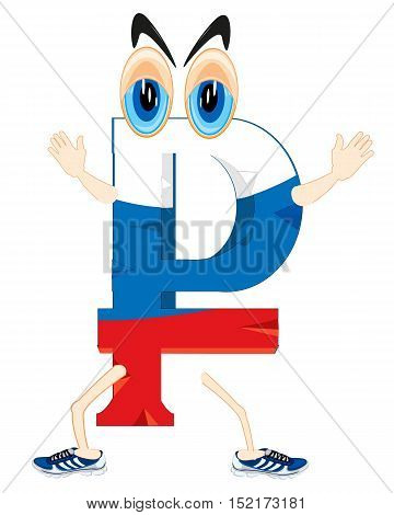 Cartoon of the symbol of the rouble painted in russian flag