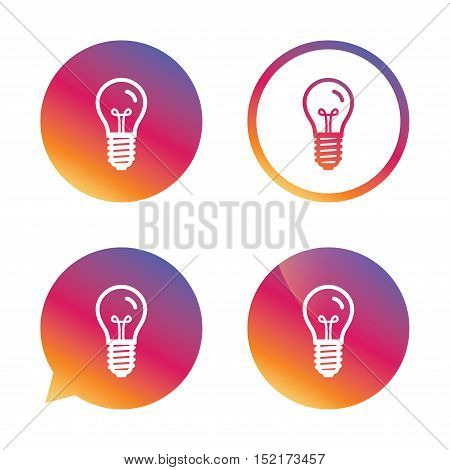 Light bulb icon. Lamp E14 screw socket symbol. Illumination sign. Gradient buttons with flat icon. Speech bubble sign. Vector