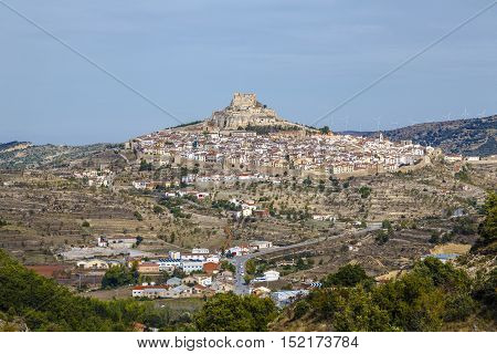A panoramic view of Morella Maestrazgo in Valencia Spain