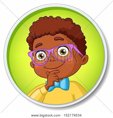 Young smart african american student boy in glasses thinking. Cartoon vector illustration isolated on white background.