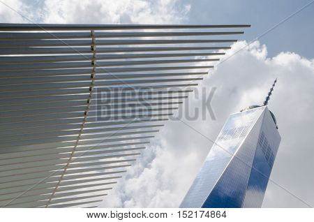 Freedom Tower (1 Wtc) And Calatrava Metro Station In Manhattan, Usa.