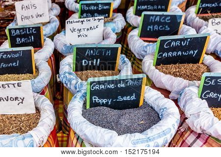 Outdoor Spice Market in Guadalupe, Eastern Caribbean