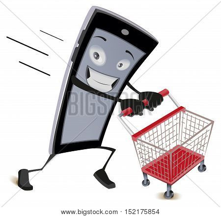Mobile phone runs with empty shopping cart. Isolated on white vector cartoon illustration