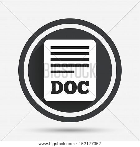 File document icon. Download doc button. Doc file symbol. Circle flat button with shadow and border. Vector